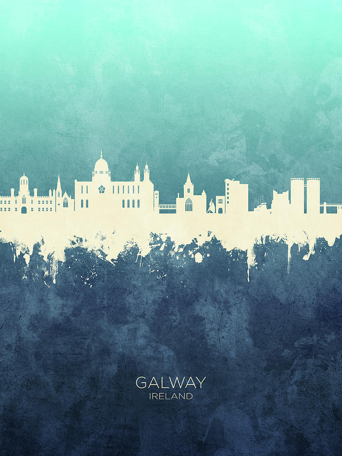 Galway Digital Art - Galway Ireland Skyline by Michael Tompsett