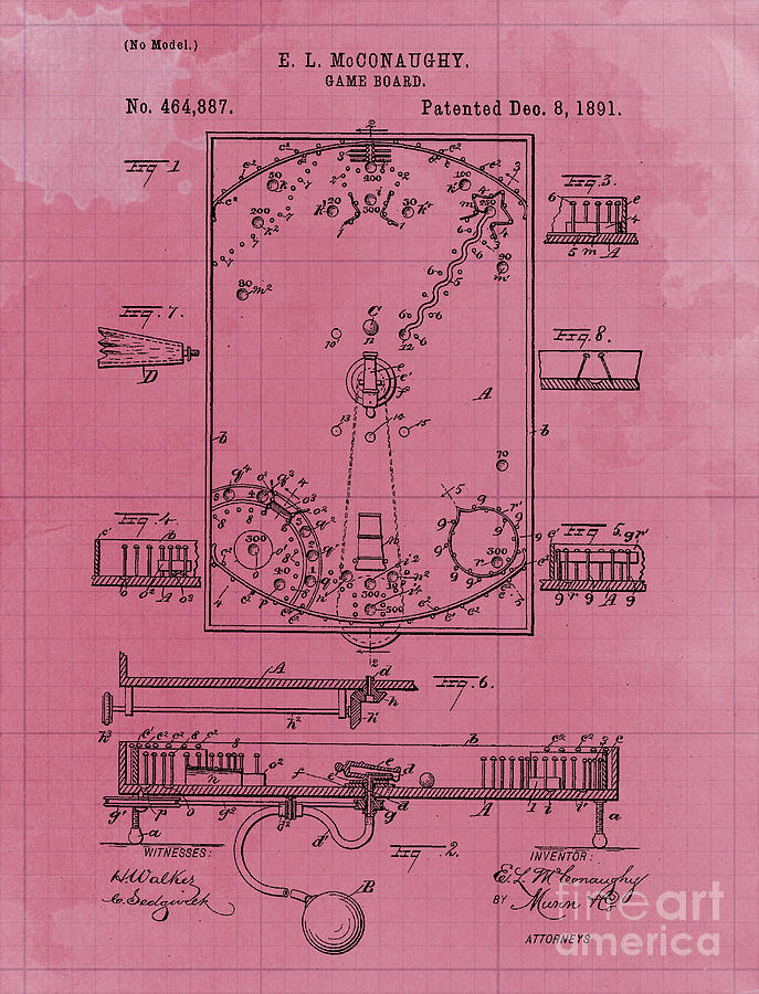 Game Board Vintage Patent Year 1891 Vintage Artwork Pub Decoration Drawing
