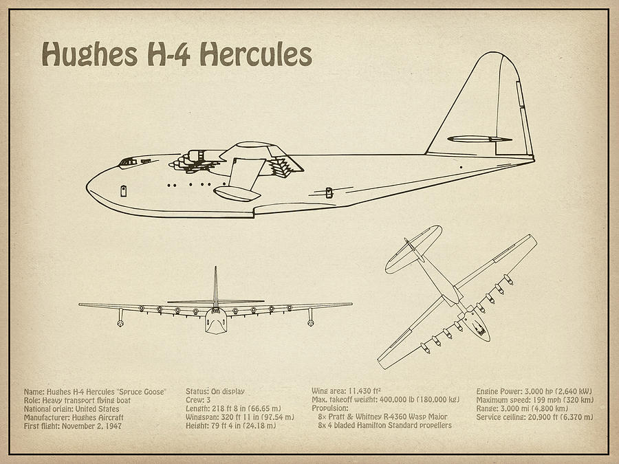 Hughes H-4 Hercules Spruce Goose - Airplane Blueprint  Drawing Plans For  The Hughes H-4 Hercules by JESP Art and Decor