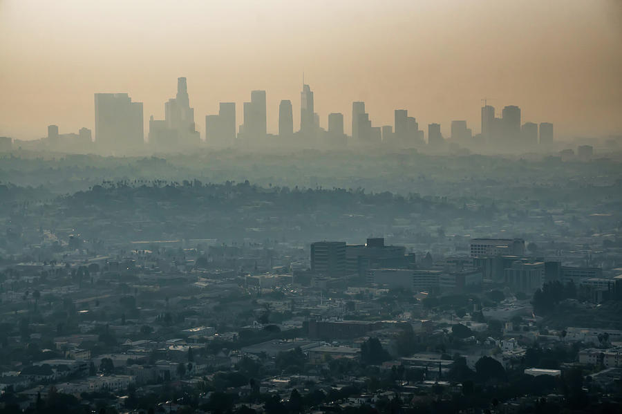 los angeles skyline and suburbs wrapped in smoke from woosle fir by ALEX GRICHENKO