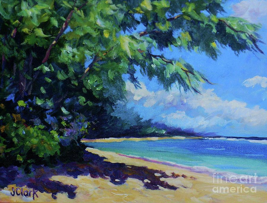 Flamboyant Painting - 7-mile Beach by John Clark