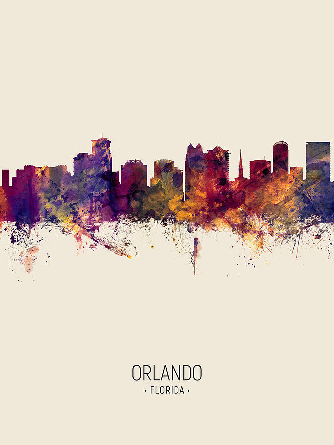 Orlando Florida Skyline by Michael Tompsett