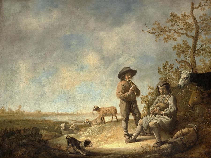 Piping Shepherds. by Aelbert Cuyp