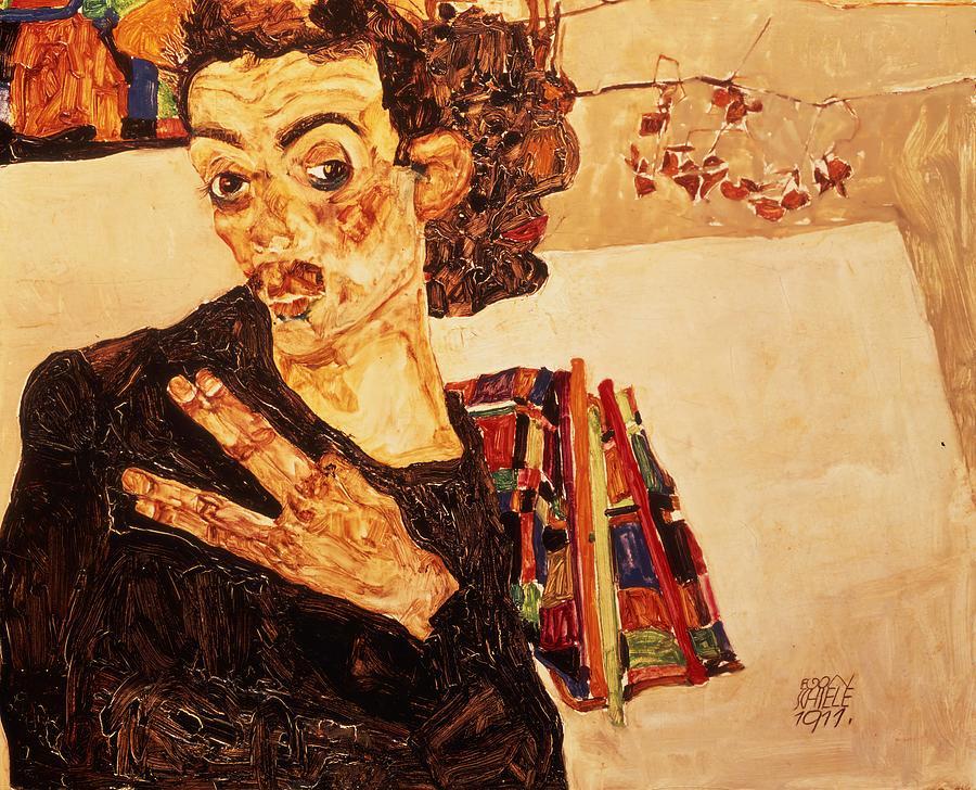 Egon Schiele Painting - Self Portrait  by Egon Schiele