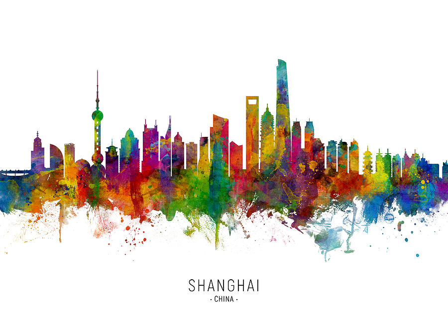 Shanghai China Skyline by Michael Tompsett