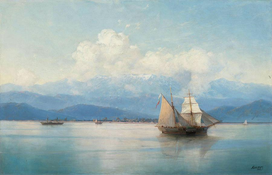 Aivazovsky Painting - Ships Before The Caucasian Coast by MotionAge Designs