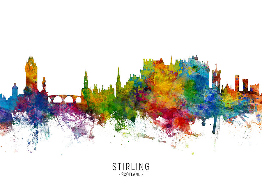 Stirling Digital Art - Stirling Scotland Skyline by Michael Tompsett