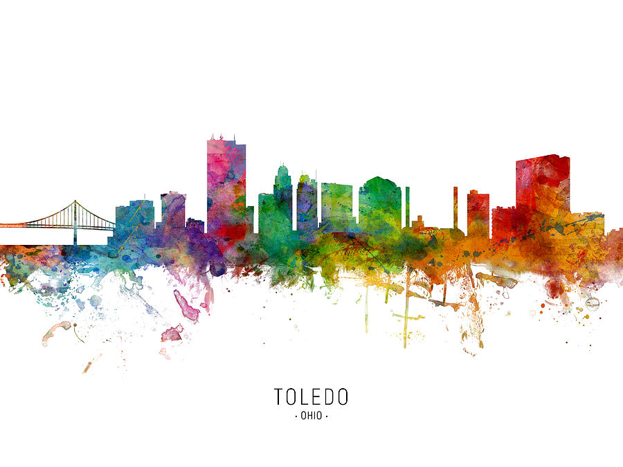 Toledo Digital Art - Toledo Ohio Skyline by Michael Tompsett