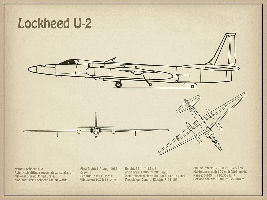 U 2 Dragon Lady Airplane Blueprint Drawing Plans For The