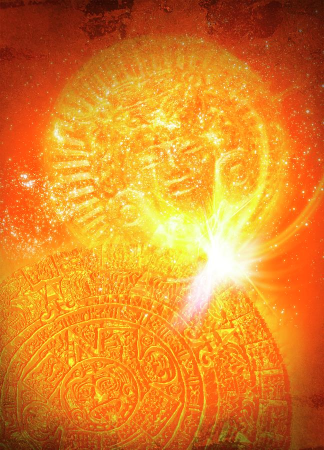 Aztec Sun Stone, Artwork Digital Art by Victor Habbick Visions