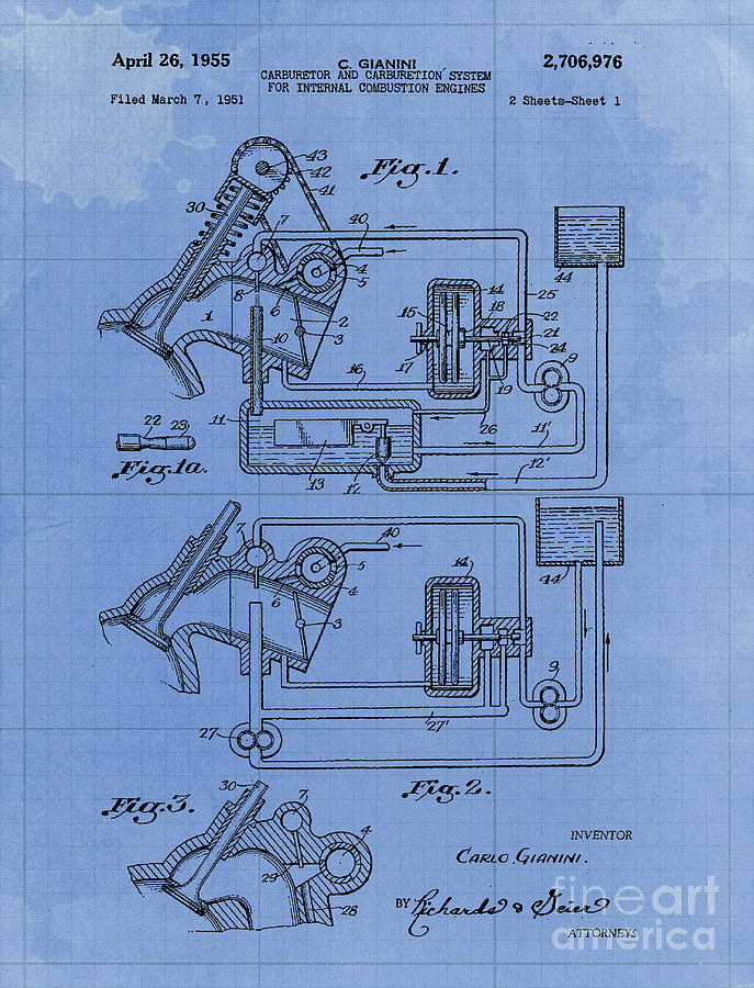 Tractor Drawing - Carburetor And Carburetion System For Internal Combustion Engines Patent Year 1955 by Drawspots Illustrations