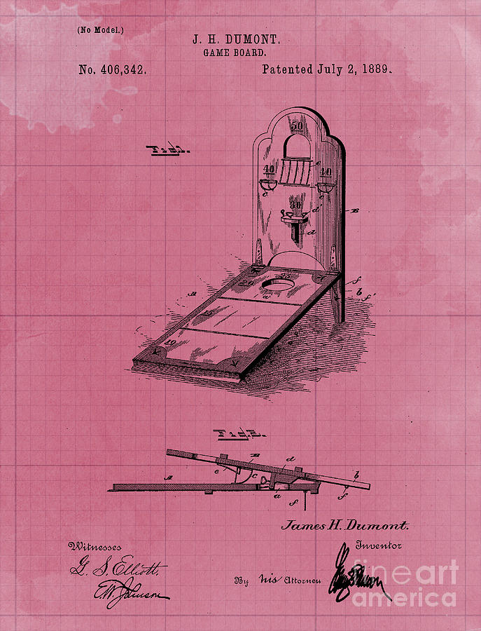 Classic Game Board Patent Year 1889 Drawing