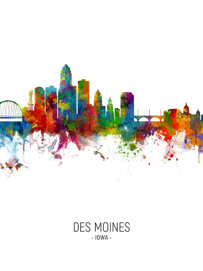Des Moines Iowa Skyline by Michael Tompsett