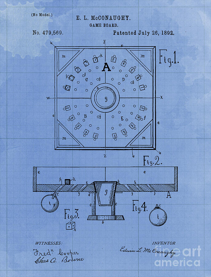 Game Board Vintage Patent Year 1892 Old Artwork Office Decoration Drawing