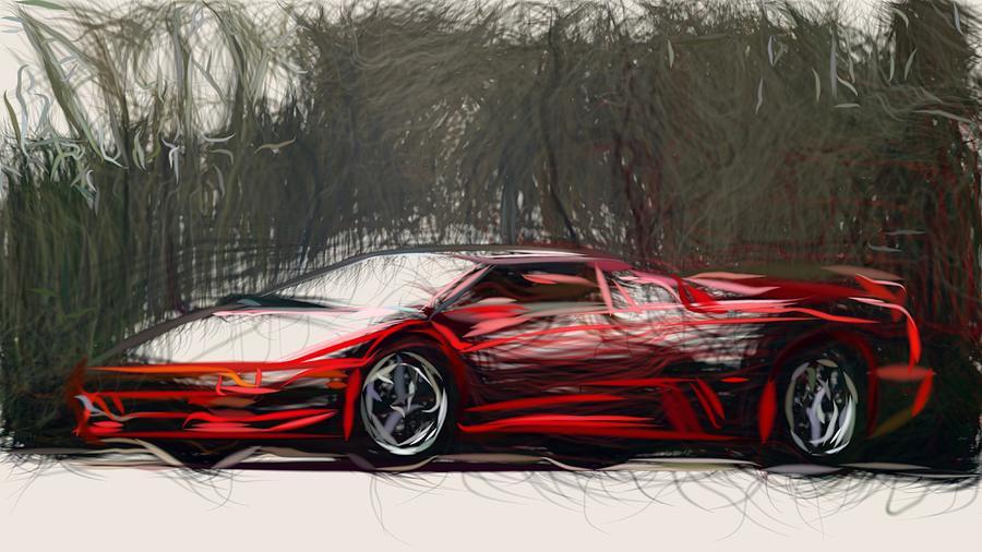 Lamborghini Diablo Roadster Draw Digital Art By Carstoon Concept