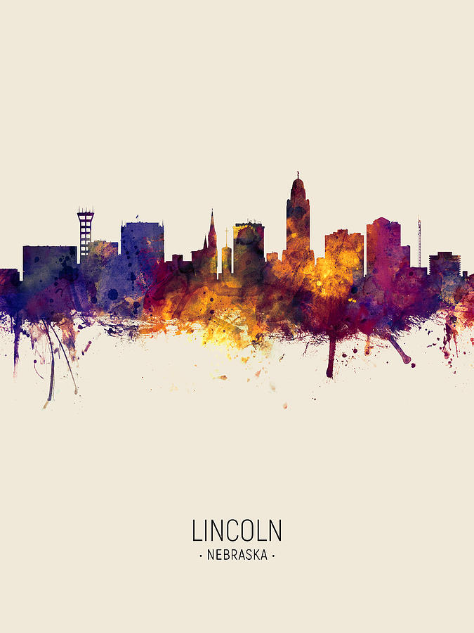 Lincoln Nebraska Skyline by Michael Tompsett