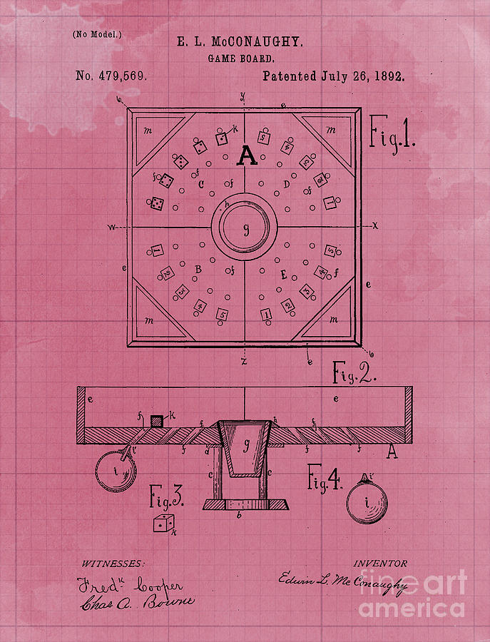 Mechanical Ball Game Patent Year 1892 Vintage Art Print Drawing