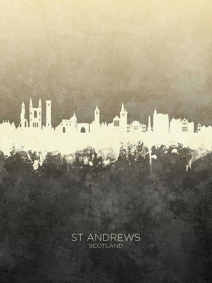 St Andrews Digital Art - St Andrews Scotland Skyline by Michael Tompsett