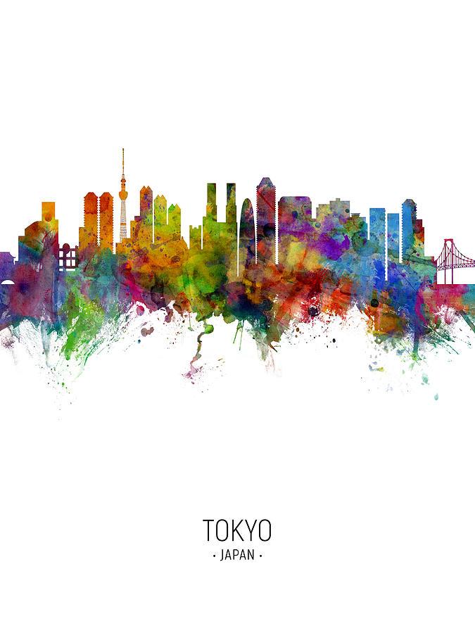 Tokyo Digital Art - Tokyo Japan Skyline 8 by Michael Tompsett