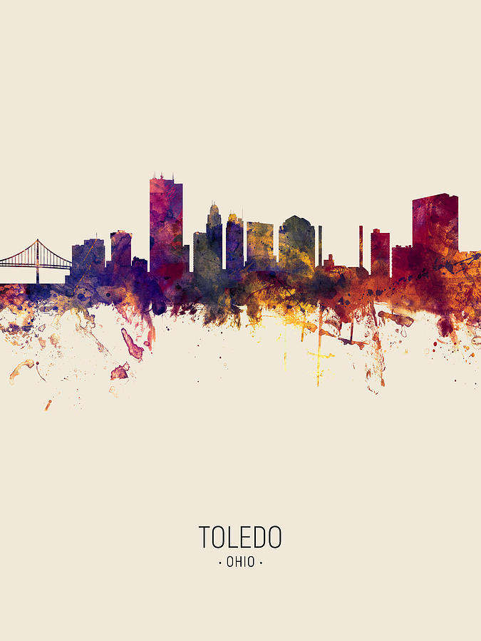 Toledo Ohio Skyline by Michael Tompsett