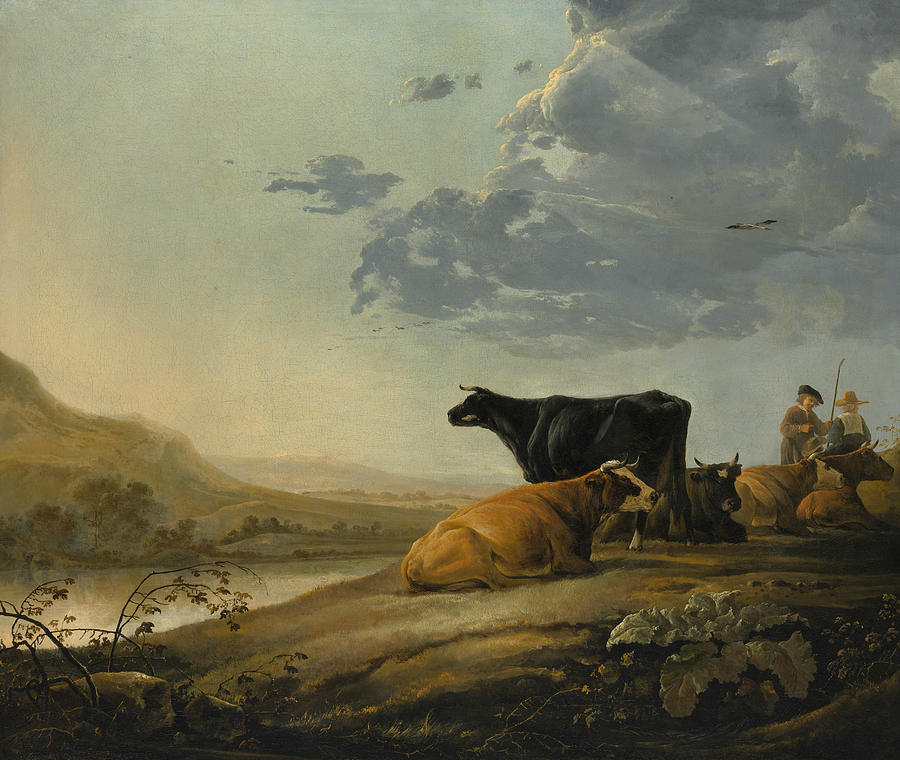 Dutch Painters Painting - Young Herdsmen With Cows by Aelbert Cuyp