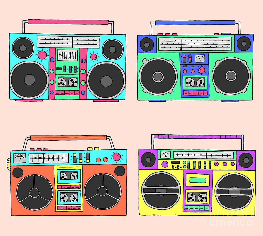 Cassette Digital Art - 80s Boomboxes by Victoria Pineapple