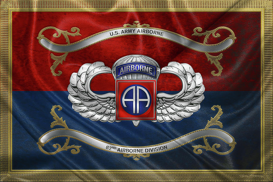 82nd Airborne Division - 82nd  A B N  Insignia with Parachutist Badge over Flag by Serge Averbukh