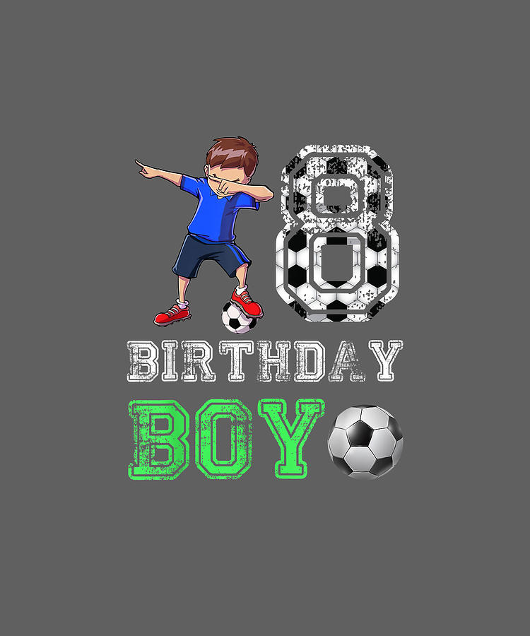 8th Birthday Boy Dabbing Soccer 8 Years Old Boy Shirt Gift