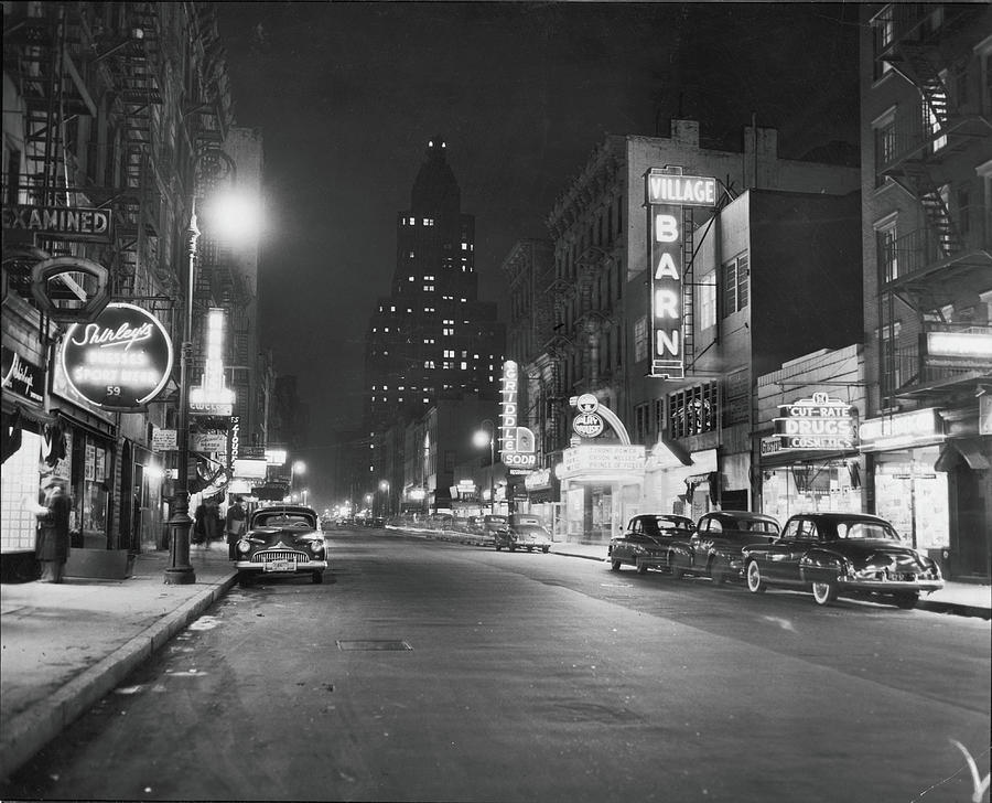 8th Street At Night, 1950 Photograph by Fred W. McDarrah