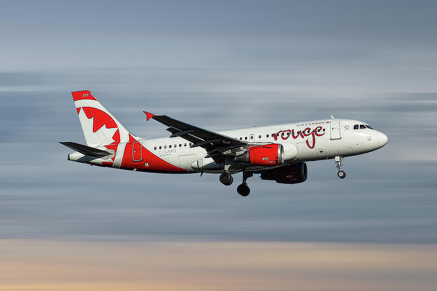 Air Canada Mixed Media - Air Canada Rouge Airbus A319-114 by Smart Aviation