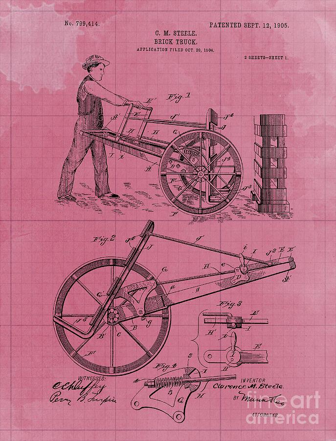 Brick Truck Patent Year 1905 Vintage Art Print Drawing