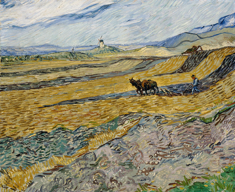 Vincent Van Gogh Painting - Enclosed Field With Ploughman -  by Vincent van Gogh