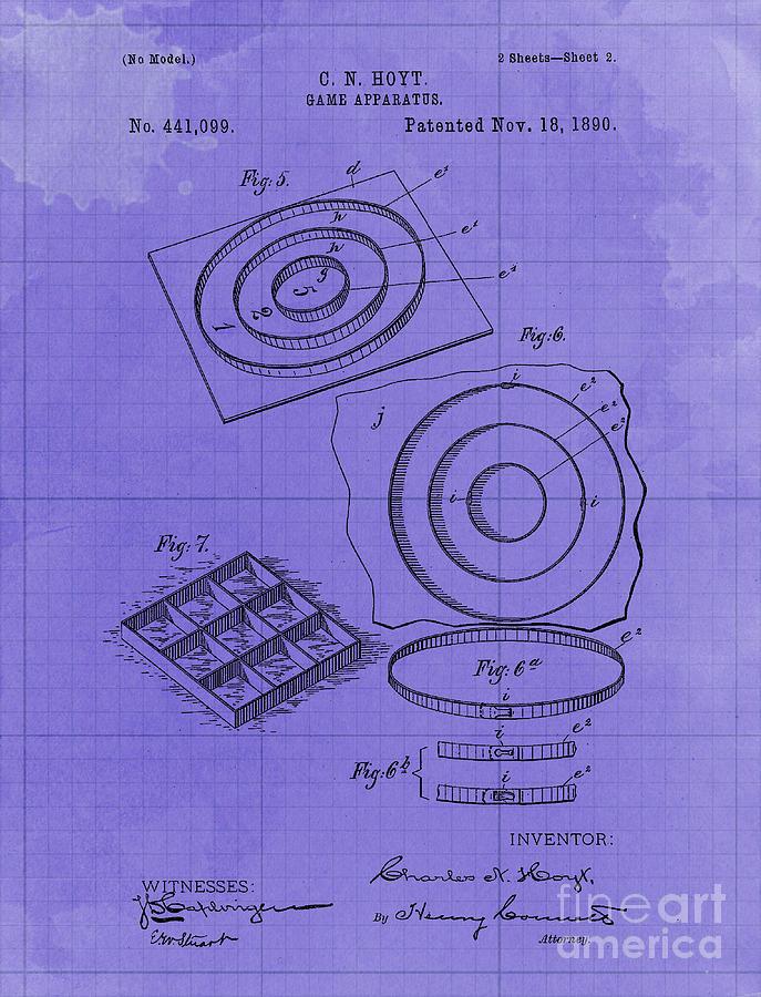 Game Apparatus Vintage Patent Year 1890 Vintage Artwork Bar Decoration Drawing
