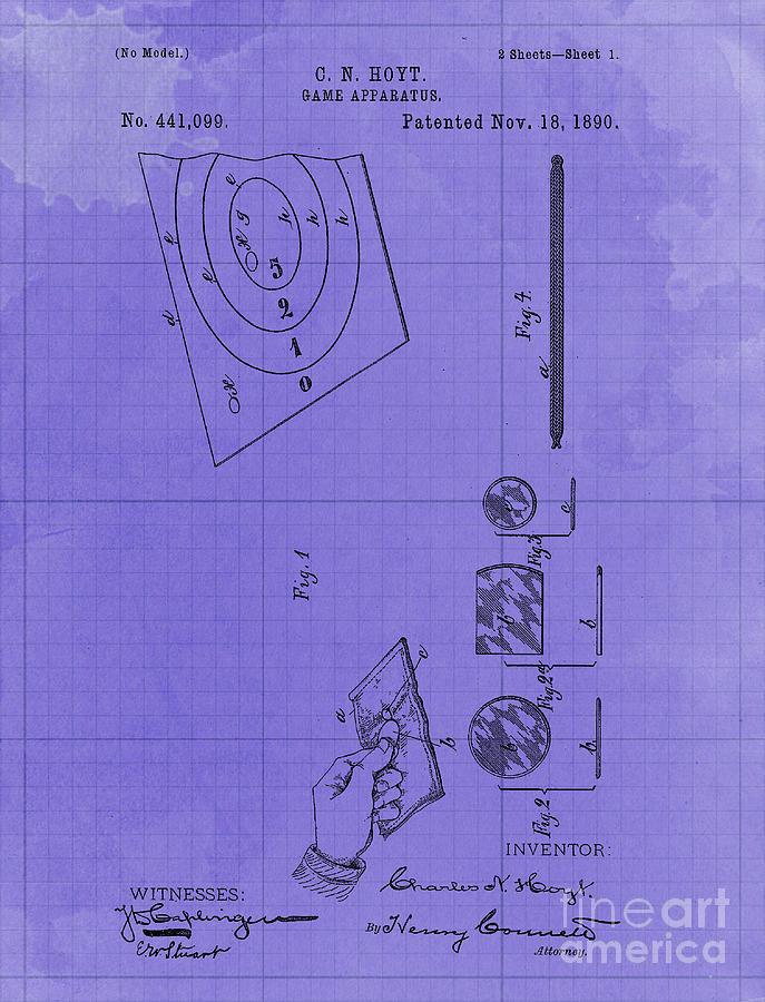 Game Apparatus Vintage Patent Year 1890 Vintage Artwork Pub Decoration Drawing