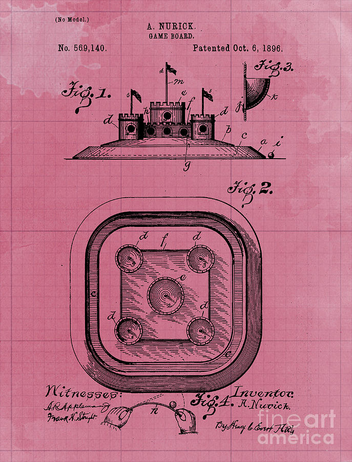 Game Board Castle Patent Year 1896 Vintage Game Drawing