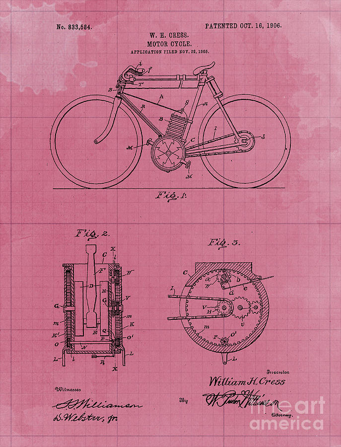 Motor Cycle Patent Year 1906 Old Artwork Motorcycle Art Drawing
