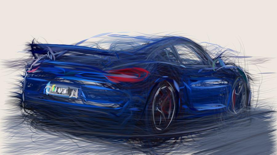 Porsche Digital Art - Porsche Cayman Gt4 Draw 9 by CarsToon Concept