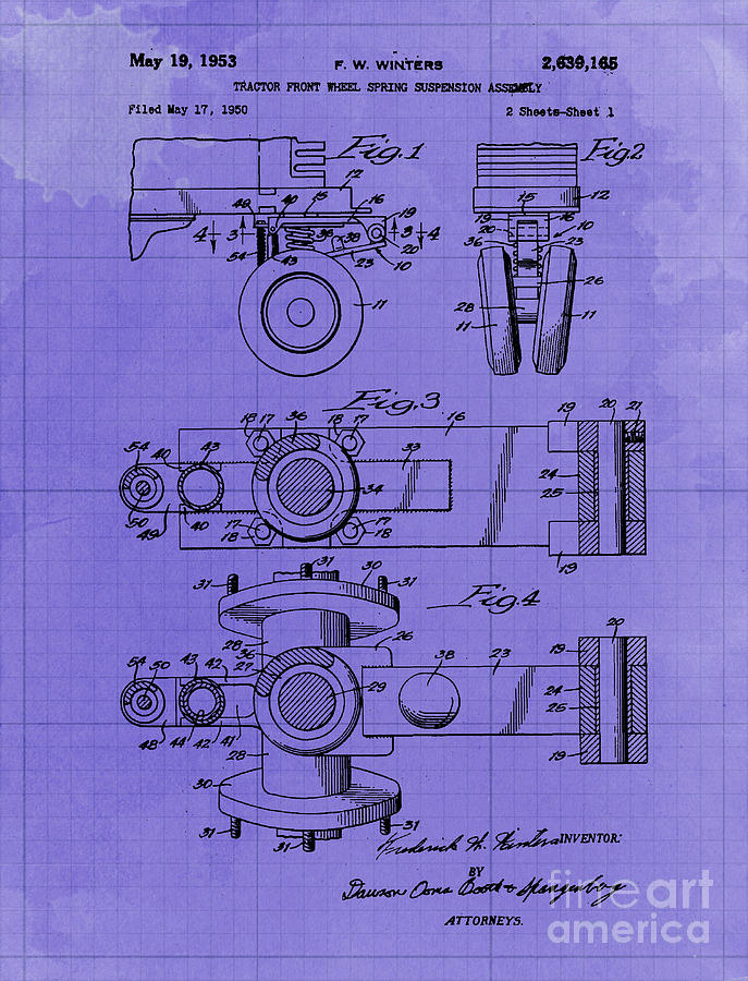 Tractor Front Wheel Spring Suspension Assembly Patent Year 1953 Drawing