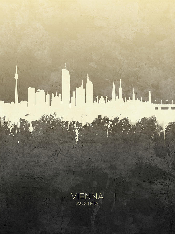 Vienna Digital Art - Vienna Austria Skyline by Michael Tompsett