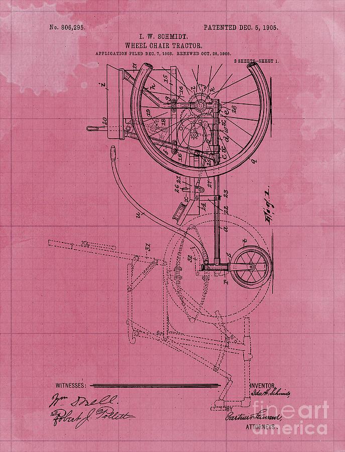 Wheel Chair Tractor Vintage Art Print Year 1905 Blueprint Drawing