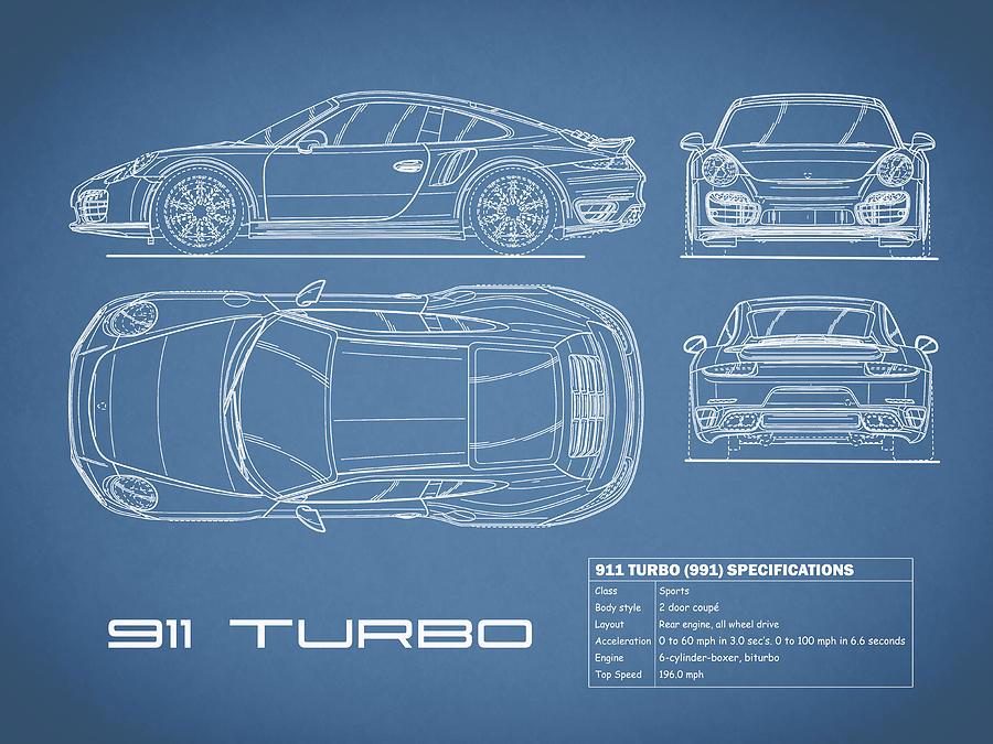 Porsche Photograph - 911 Turbo 991 Blueprint by Mark Rogan
