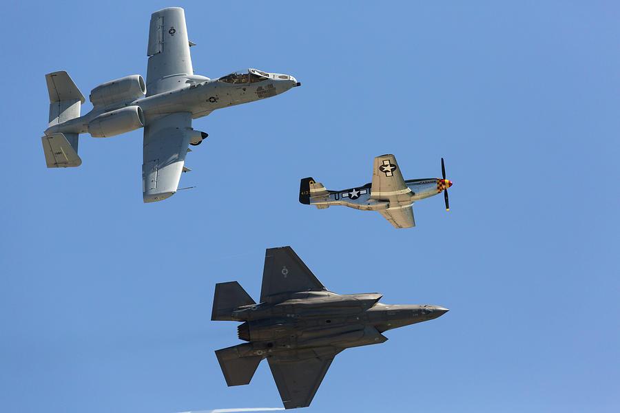 A-10 P-51 F-35 Heritage Flight Photograph