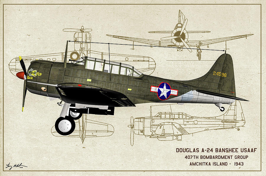 A-24 Banshee Bar Fly Profile - Oil by Tommy Anderson