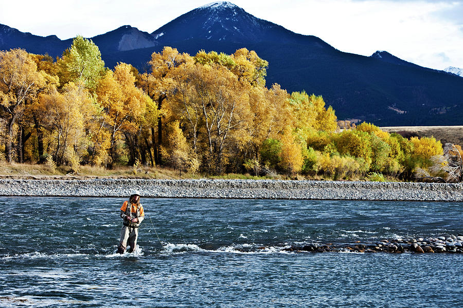 A Athletic Man Fly Fishing Stands In A Photograph by Patrick Orton