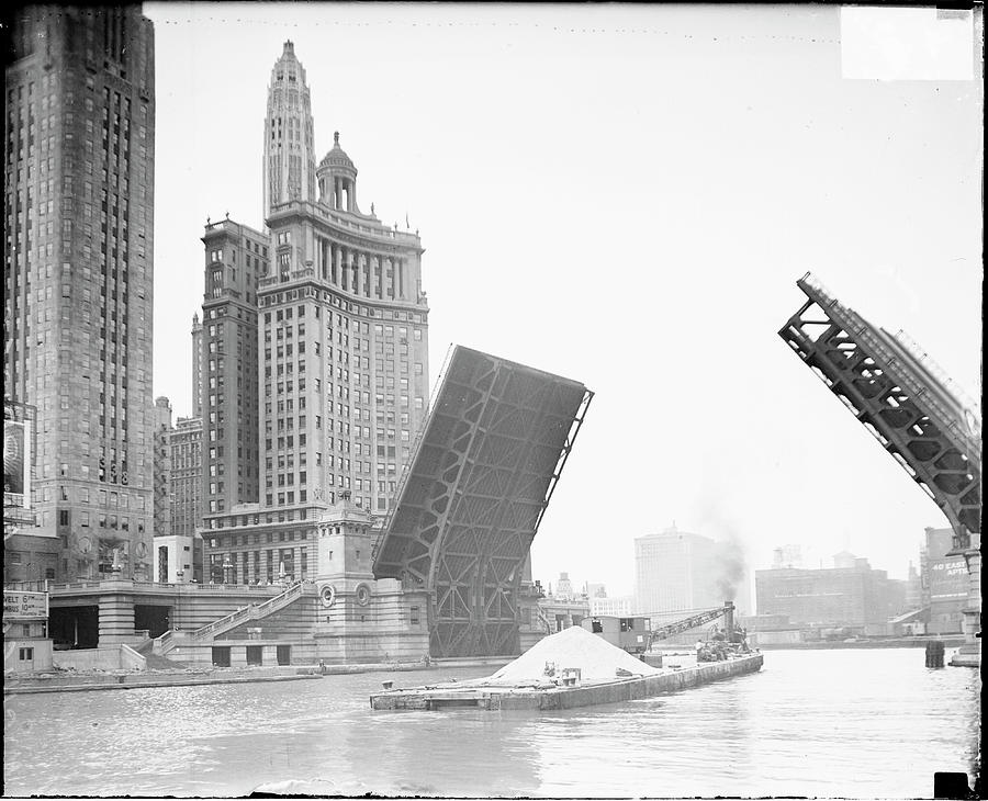 A Barge Travels Under A Drawbridge Photograph by Chicago History Museum