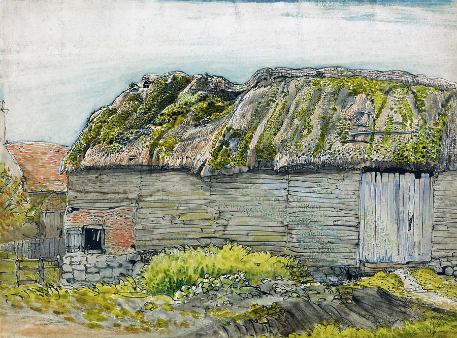 Samuel Palmer Painting - A Barn With A Mossy Roof, Shoreham - Digital Remastered Edition by Samuel Palmer