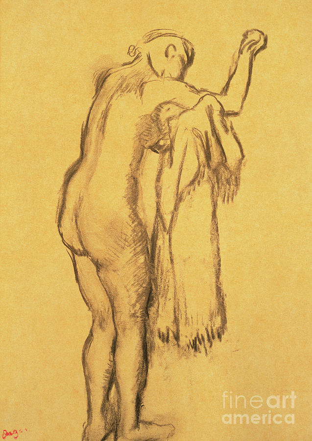 Degas Drawing - A Bather Drying Herself By E Degas by Edgar Degas