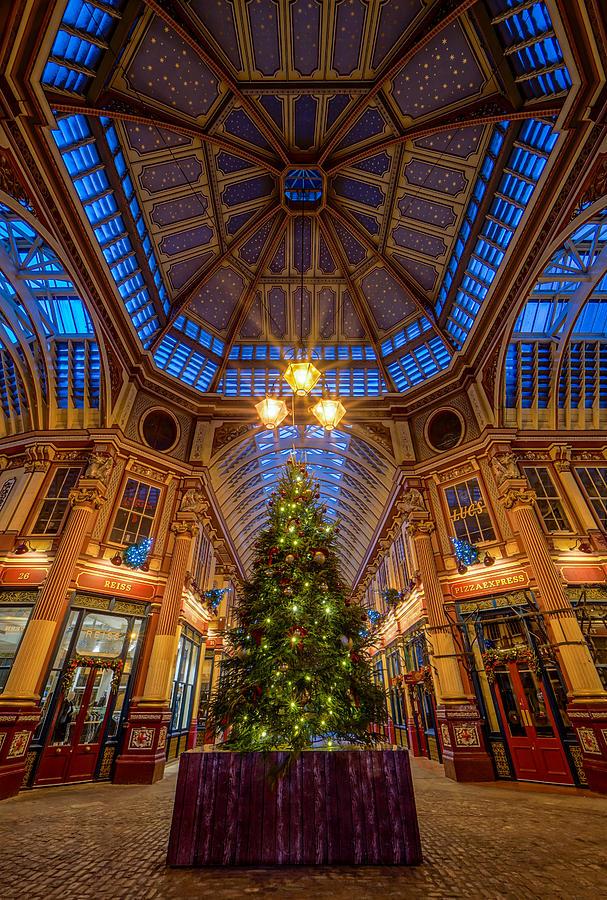 A Beautiful Christmas Tree In Leadenhall Market, London, England. Photograph