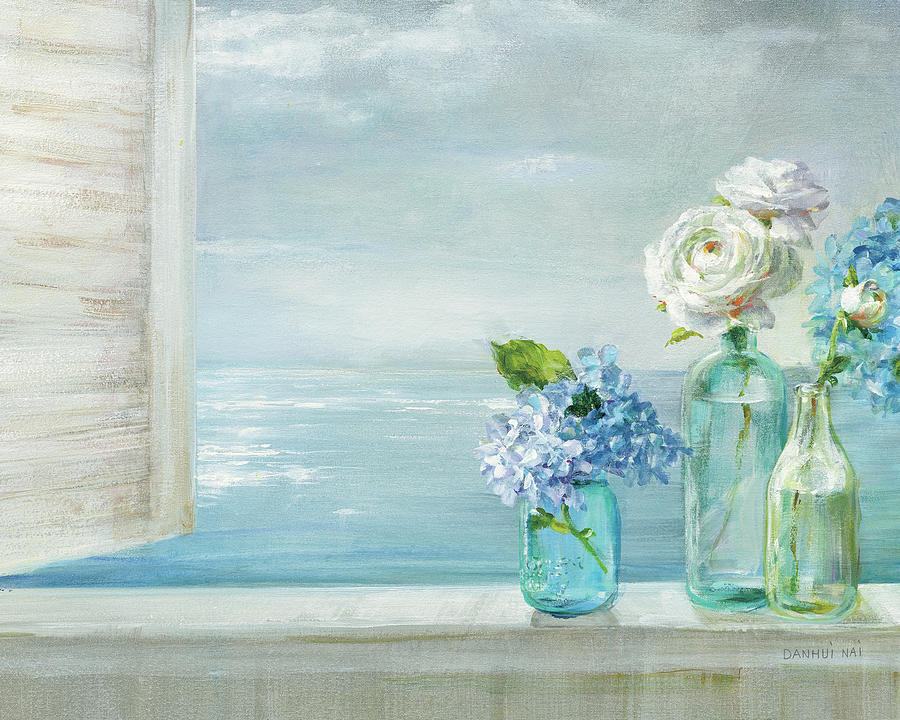 Aqua Painting - A Beautiful Day At The Beach - 3 Glass Bottles by Danhui Nai