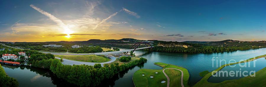 Pennybacker Bridge Photograph - A Beautiful Sunset Falls On The 360 Pennybacker Bridge Overlooki by Herronstock Prints